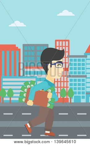 An asian  young businessman walking in the city with suitcase full of money. Vector flat design illustration. Vertical layout.