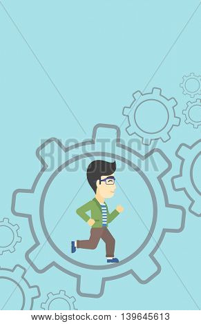 An asian  young businessman running inside a big cogwheel on a blue background. Vector flat design illustration. Vertical layout.