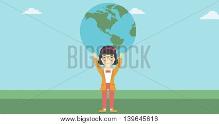 An asian  young business woman holding a big Earth globe over her head. Concept of global business. Vector flat design illustration. Horizontal layout.