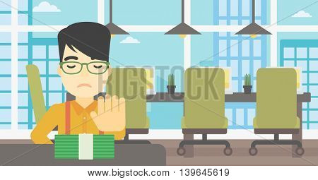 An asian  young businessman sitting at the table in office and moving dollar bills away. Vector flat design illustration. Horizontal layout.