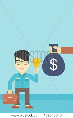 An asian young happy businessman with briefcase exchanging his idea bulb to money bag. Successful business idea concept. Vector flat design illustration. Vertical layout.