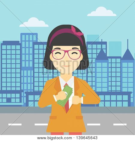 An asian  young business woman putting money in her pocket on a city background. Vector flat design illustration. Square layout.