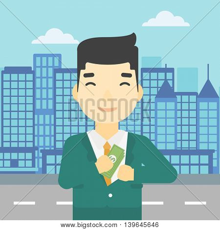 An asian  young businessman putting money in his pocket on a city background. Vector flat design illustration. Square layout.