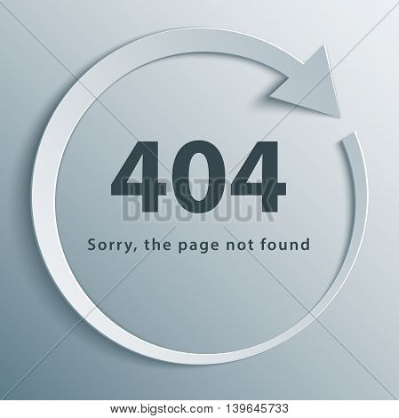 404 page not found template with reboot round arrow in 3d paper and origami style.