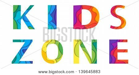 Kids area lettering mockup. Colorful vector illustration for playground child or day care isolated on white background.