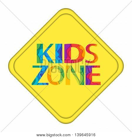 Kids Zone yellow traffic sign. Colorful vector illustration for playground child or day care isolated on white background.