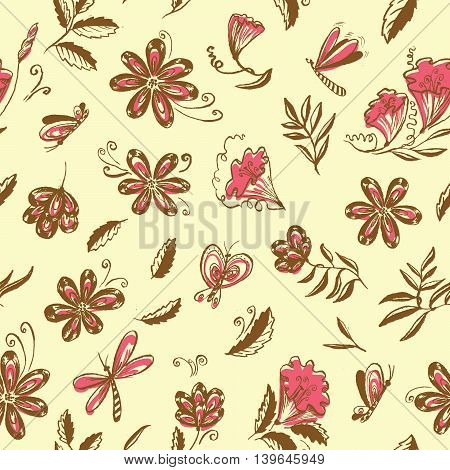 Doodle floral seamless pattern with butterfly and leaves