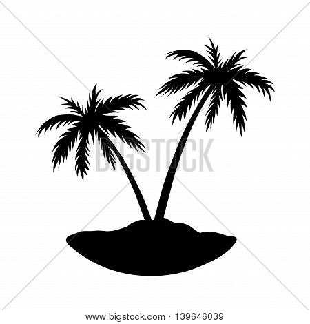 Two palms on island. Black coconut tree silhouette isolated on white background. Symbol of tropical nature beach summer holiday travel. Floral exotic landscape. Natural design. Vector illustration