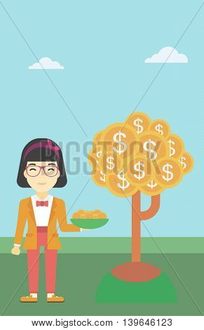 An asian young business woman with basket in hands catching dollar coins from money tree. Successful business concept. Vector flat design illustration. Vertical layout.