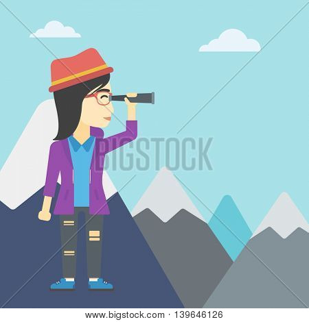 An asian business woman standing on the top of mountain with spyglass. Business woman looking through spyglass for success and business opportunities. Vector flat design illustration. Square layout.