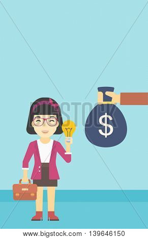 An asian young happy business woman with briefcase exchanging her idea bulb to money bag. Successful business idea concept. Vector flat design illustration. Vertical layout.