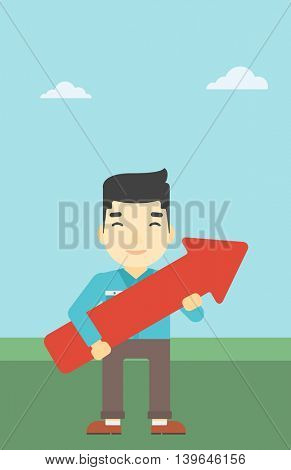An asian  young businessman holding a big arrow in hands. Successful business concept. Vector flat design illustration. Vertical layout.