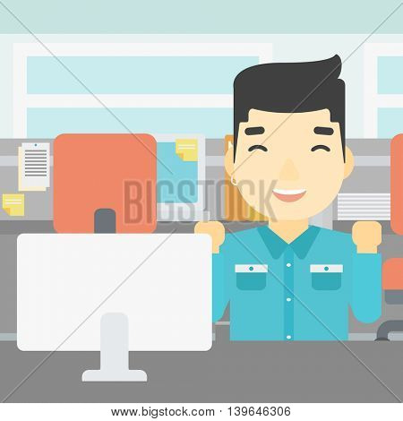 An asian young smiling businessman sitting at workplace in office and celebrating. Successful business concept. Vector flat design illustration. Square layout.