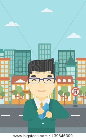 An asian  young businessman putting an envelope in his pocket on a city background. Vector flat design illustration. Vertical layout.