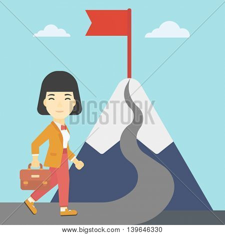 An asian business woman standing at the foot of the mountain. Business woman walking on road leading to flag on the top of the mountain. Vector flat design illustration. Square layout.
