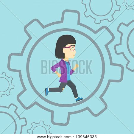 An asian  young business woman running inside a big cogwheel on a blue background. Vector flat design illustration. Square layout.