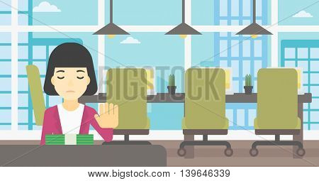 An asian  young business woman sitting at the table in office and moving dollar bills away. Vector flat design illustration. Horizontal layout.