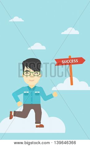 An asian young businessman running in the sky near direction sign success. Successful business concept. Vector flat design illustration. Vrtical layout.