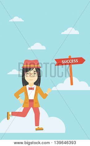 An asian young business woman running in the sky near direction sign success. Successful business concept. Vector flat design illustration. Vertical layout.