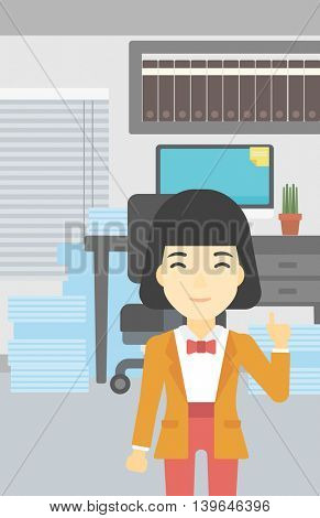 An asian young happy business woman standing in the office and pointing up with her forefinger. Business idea concept. Vector flat design illustration. Vertical layout.