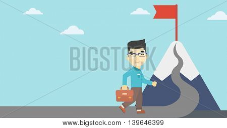 An asian businessman standing at the foot of the mountain. Businessman walking on a road leading to the flag on the top of the mountain. Vector flat design illustration. Horizontal layout.