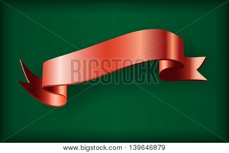 Red ribbon. Satin bow blank banner. Design label scroll blank element isolated on green background. Empty template for greeting placard or advertising. Symbol for decoration. Vector illustration.