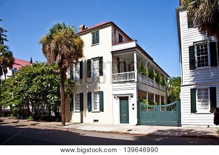 CHARLESTON, USA - JUNE 3, 2014: White Southern Mansion house in Charleston, USA