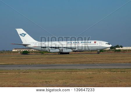Simferopol Ukraine - September 12 2010: Atlant-Soyuz Ilyushin Il-86 is taxiing to the terminal after landing