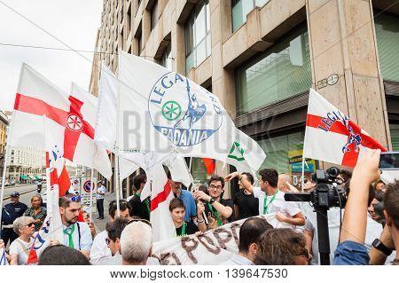 People Protesting Agaist President Erdogan In Milan, Italy