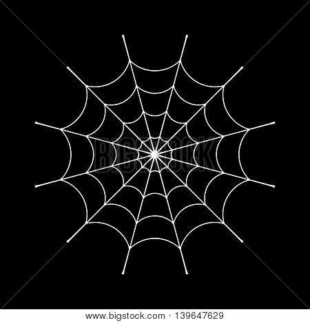 Spider web clip. White cobweb element isolated on black background. Spiderweb silhouette graphic. Symbol of halloween network trap and danger scary arachnid. Design tattoo. Vector illustration