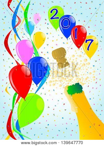 Multi coloured balloons confetti and streamers a party image for 2017