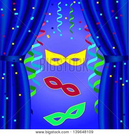 Carnival poster template to open the curtain with masks, streamers, on a blue background