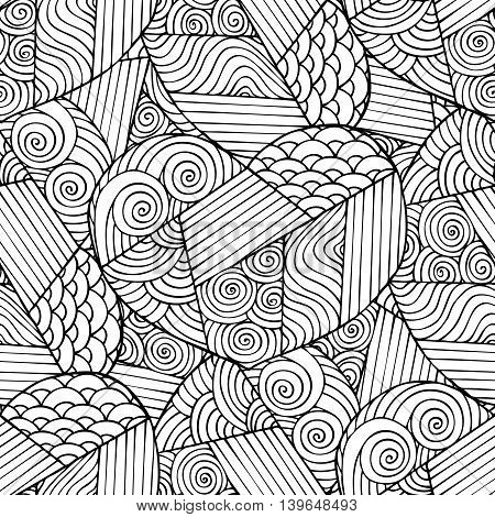 Hand drawn heart seamless pattern. Adult coloring book page design. Coloring book page for adult. Vector illustration in the style of doodle, ethnic, tribal design.