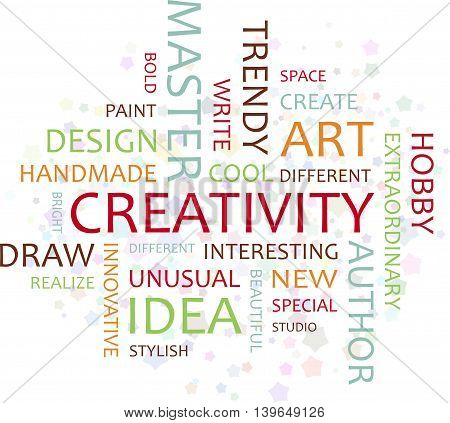 The inscription creativity. Association to the word creative. Colored words.