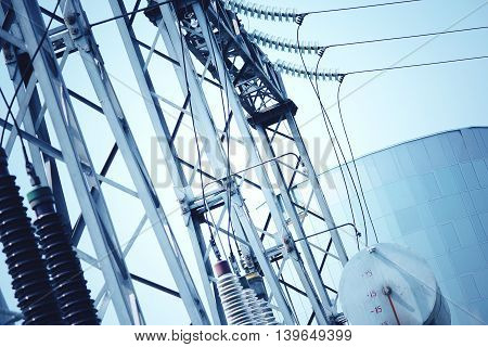 Power transformer substation. Abstract technology blue color background.