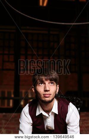 Modern Portrait Of Brutal Bearded Man