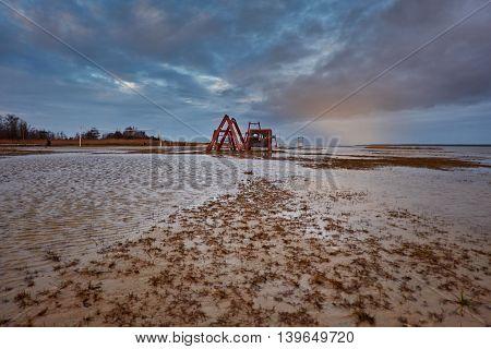 flood in the beach. Haapsalu town, Estonia
