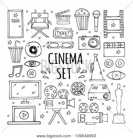 The hand drawn elements to create a logo cinema, film industry.  Multimedia symbols, logo designs and signs. Cinema design elements collection.