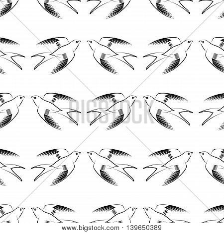 Flying Swallow Animal Seamless Pattern. Bird Geometric Background.