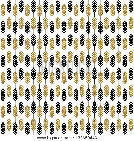 Seamless pattern with gold feathers. Tribal feathers on white background. Feathers Aztec seamless pattern. Ethnic ornament. Vector illustration