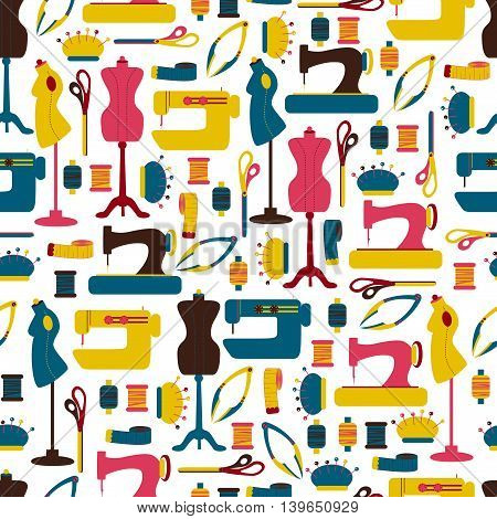 Seamless Pattern with Sewing Tool / Vector Seamless Background with Sewing Accessories