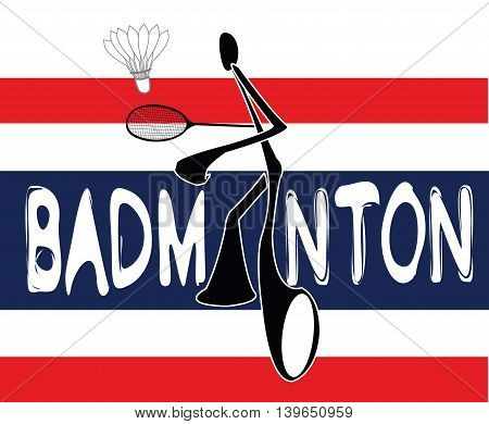 Badminton Thai Flag Shadow Man Cartoon sport acting symbol background white color design