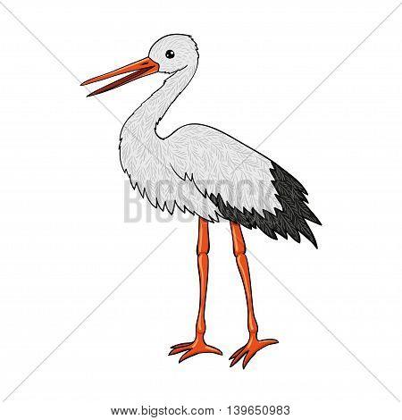 Stork - vector cartoon vector illustration. Isolated bird.