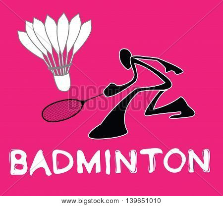 Badminton Shadow Man Cartoon sport acting symbol background pink color design