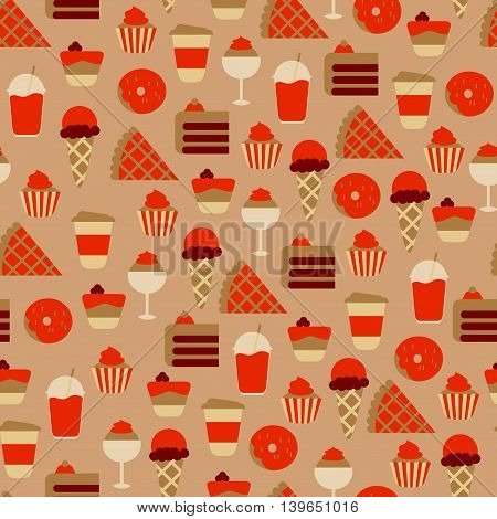 Seamless Pattern with Sweet Food Icons / Seamless Background with Sweets and Candies