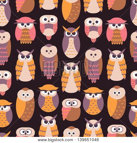 Seamless Pattern with Owls / Seamless Cute Owl Background in Vector