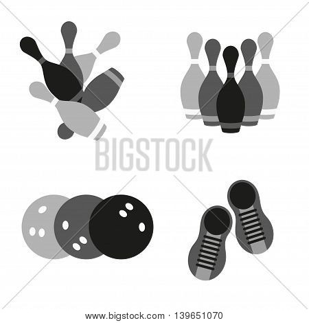 Bowling game sign icon. Vector isolated icons