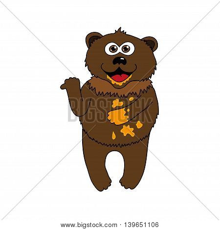 Brown bear and honey - cartoon style vector isolated illustration.