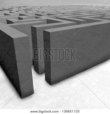 Maze On Gray Background. Concept For Decision-making. 3D Illustration.
