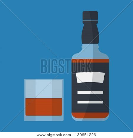 Whiskey bottle and glass of whiskey. Serving alcohol. Simple flat vector.